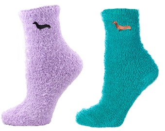 Embroidered Dachshund Fuzzy Spa Socks