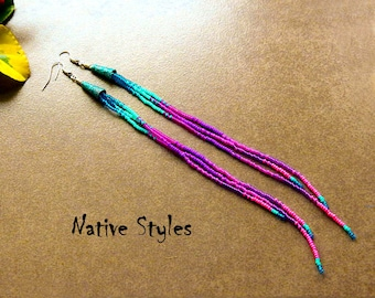 "8.5""Extra Long Seed Bead Earrings~Long Shoulder Duster Turquoise Purple~Long Modern Native American Style~Vibrant Purple NEON Pink Turquoise"