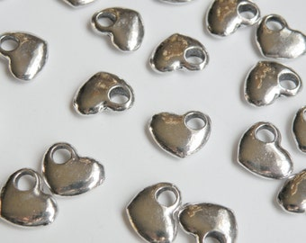 10 Smooth puffed heart charms with large 4mm hole antique silver 14x12mm DB31117