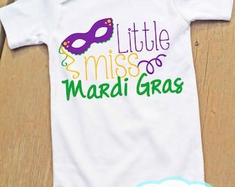 Little Miss Mardi Gras Personalized Bodysuit or Tshirt - Mardi Gras - Girl Shirt or Bodysuit