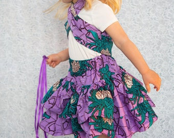 Girls Ruffle Skirt- Lavender + Teal African Print or Choose a Print