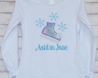 SnowFlake Ice Skate Applique Shirt or Onesie Boy or Girl
