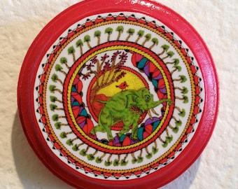 Green Elephant ,Colorful Mandala,Round Wood Art Board