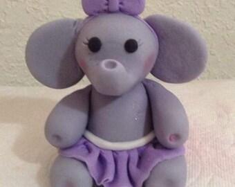 Girl Elephant Fondant Cake Topper