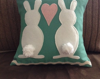 Bunny Pillow, Easter Pillow,  12 x 12 pillow, handmade pillow, wedding gift, Spring Pillow, summer pillow,  appliqué pillow