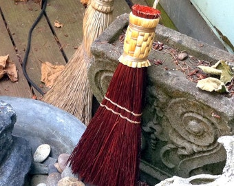 Whisk Broom in your choice of Natural, Black, Rust or Mixed Broomcorn - Traditional Shaker Style Hand Broom