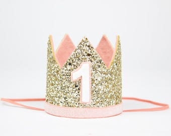 First Birthday Crown | Birthday Party Hat | First Birthday Smash Cake Glitter Crown | Baby Girl 1st Birthday Hat | Pale Gold + Blush 1