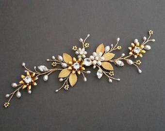 Gold hair vine Bridal Headpiece Bridal Hair Vine Crystal bridal hair piece Wedding Hair Vine Bridal Hair Accessories  Pearl Headpiece