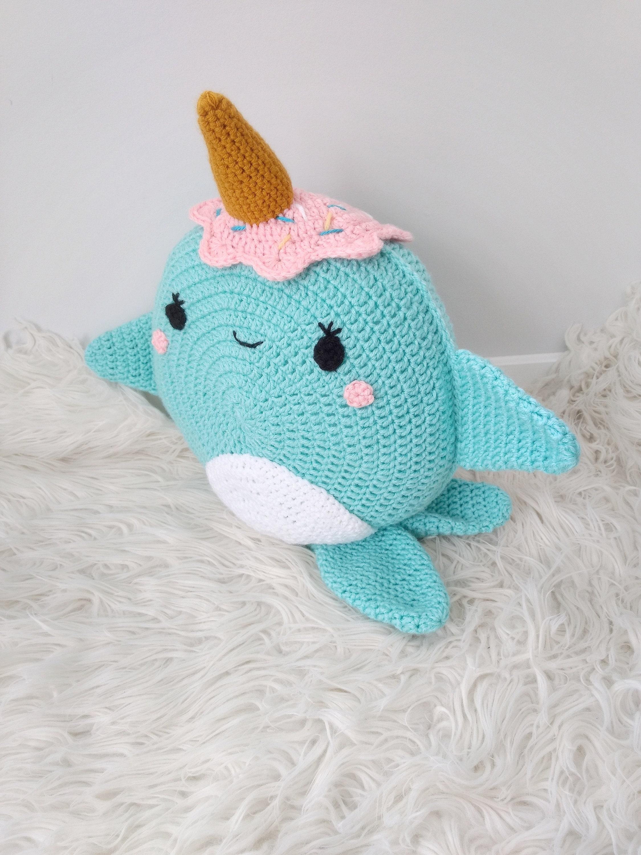 Crochet narwhal Pattern - Crochet Narwhal Pillow - Crochet Narwhal ...