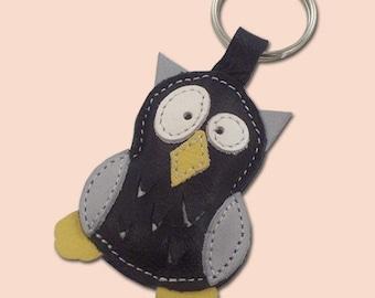 Cute little black owl keychain