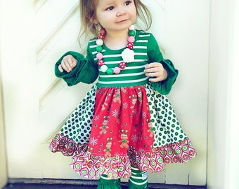 Christmas Gingerbread Man Holiday dress Momi boutique custom dress