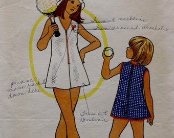 Butterick 3649 Vintage Sewing Pattern, Girls Tennis Dress and Bloomers