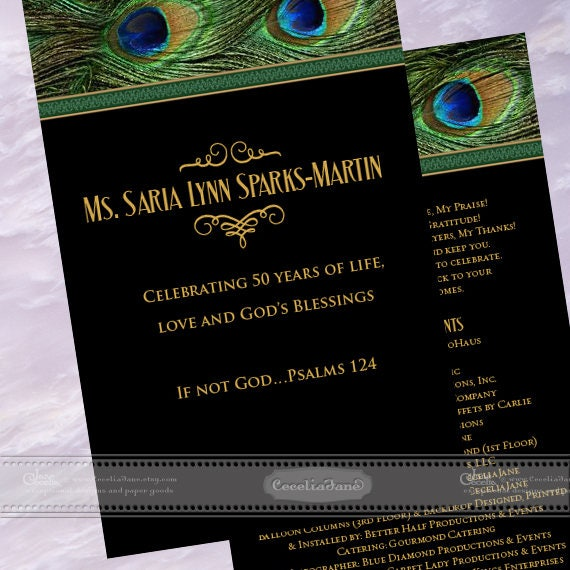 program covers, peacock program covers, 50th birthday party program, wedding program cover, birthday party program, peacock party, IN605