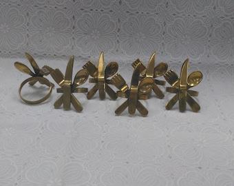 Vintage Brass? Napkin Rings Fork Knife Spoon Napkin Holder Made in India Set of 6  (1)