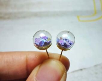 Glass Ball Stud Earrings - Purple