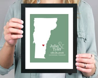Unique Wedding Gift, Custom Vermont State Silhouette Map, Gay Wedding Gift, Anniversary Gift, Vermont Pride, Guestbook -  Art Print