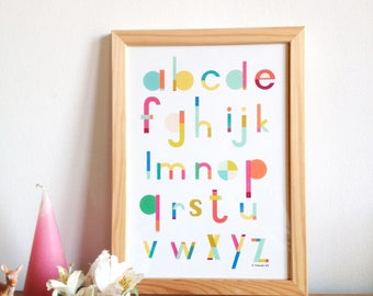 Alphabet print - ACB poster for kids room, art print for kids, colorful letters alphabet print - baby decor wall - A4 = 8, 27 x 11, 7 inch