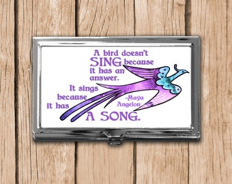 Uplifting Metal Business Card Case, Card Storage Case, Magnetic Needle Case, Needle Storage, Happy Affirmation,Maya Angelou Quote,