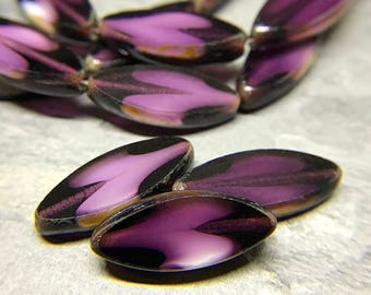 Amethyst Purple Glass Spindle Beads, Purple Flat Oval Beads, Small Purple Czech Glass Spindle Petal Beads, 17x8mm - 6 beads (GS-02)