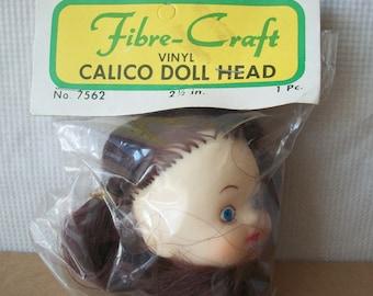 Vintage FibreCraft Calico Doll Head **