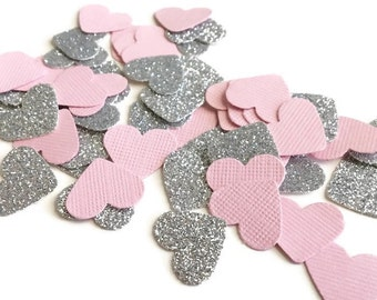 Pink and silver confetti, Pink and silver heart confetti, Princess confetti, Baby shower confetti, Pink and silver party , Heart confetti