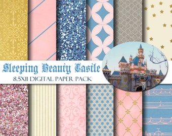 Disneyland Sleeping Beauty Castle 8.5x11 Digital Paper Pack for Scrapbooking, Party Supplies, Invitations,  -INSTANT DOWNLOAD -