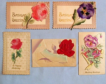 Five Birthday Postcards, Circa 1910, 3D Flowers, Embossing, Plush, Satin Finish