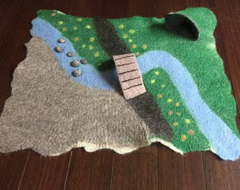 Felted Play Mat, wool play scape, waldorf playmat, felt play scene, natural toy, christmas gift, birthday present, imagination, storytelling