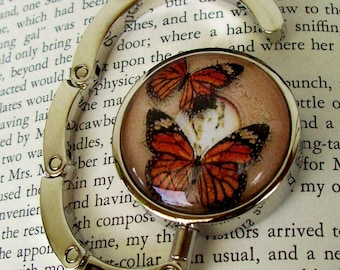 Steampunk Bag/Purse or Hat Hanger (H54) - Vintage Artwork Under Glass - Victorian / Goth - Butterflies