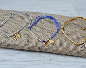 Macramé Bracelet, bar connector bracelet, geometric bracelet, minimalistic bracelet, silver bracelet, minimal jewelry
