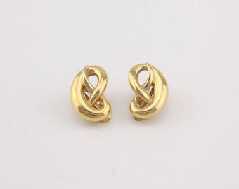 Vintage Givenchy Paris New York designer gold tone twisted rope knot clip on earrings
