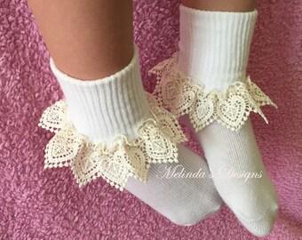 Frilly Socks Lace Socks Ruffled Socks Little Girl's Socks Girl's Socks Toddler Socks Newborn Socks Christening Socks Infant Socks Baby Gift