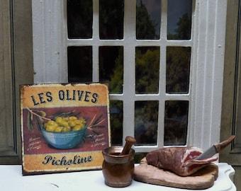 "Plate wall Miniature - Olives ""Picholine"" - 1/12 scale - Dollhouse Miniature Decoration Accessosire"