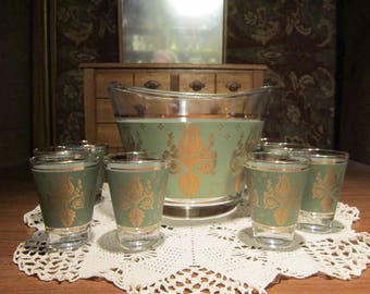 Laurel & Lyre Harp High Ball Glasses Ice Bucket Set Vintage 1950's Pattern Green Gold Bar Ware Drink Ware Serving Collectible