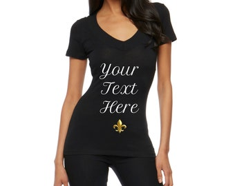 Customizable Women V Necks | Personalized Gifts | Family | Wedding | Vacation | Corporate Events | Team Building | T Shirts | Tees |