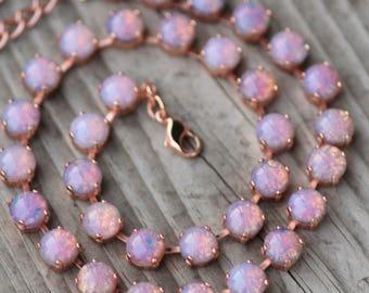 ROSE GOLD Vintage Glass Fire Opal Tennis Necklace,8mm Tennis Necklace,Harlequin Opal,Pastel Pink Opal Jewel,Stacking,Designer Inspired,Gift