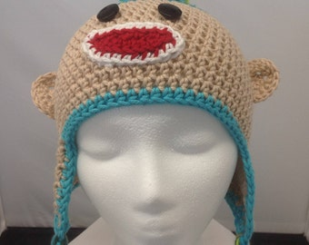 Crocheted Sock Monkey Hat for Teen or Young Adult