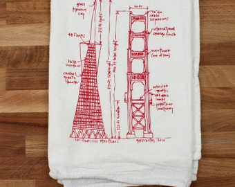 San Francisco buildings diagram tea towel - white cotton floursack kitchen towel