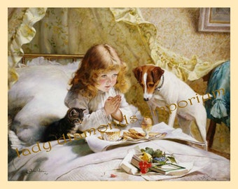 Suspense, Vintage Cross Stitch Chart Adapted From An Antique Print, Girl Praying Giving Thanks Cat Dog Leisure Arts 2526 Excellent Condition