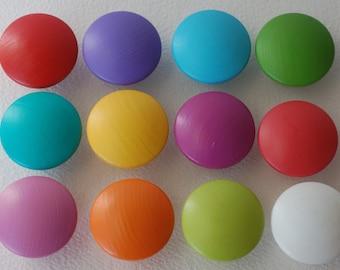 Hand Painted Dresser/ Drawer/ Cabinet Wooden Knobs - Set of 12 - Vivid Colors