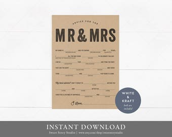 Rustic Typography Wedding Mad Libs | Instant Download, Editable, Printable | Guest book alternative - guest libs - Marriage advice