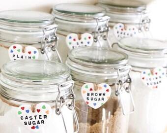 Hand made Polka hearts clay tag, jar tags, clay tags, labelling, baking tags, glass jar tags, gift tags, personalised keepsake