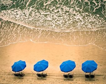Beach Chairs and Ocean Waves -Beach Photography - William Britten