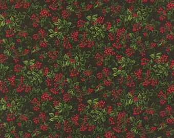 Moda Fabric REJOICE Sentimental Studios 1/2 YARD Leaves Berries Green 32883-14