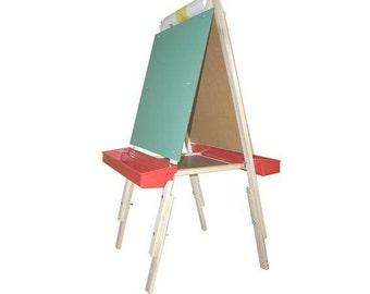 Adjustable Childrens Art Easel, Kids Easel, Wooden Easel, Chalkboard Easel, Marker Board Easel