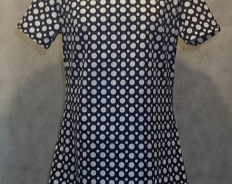 Mod Sixties inspired high neck dress in navy with white polkadots