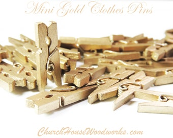 "100 Mini Clothespins, Wood Clothespins, Gold, Tiny Clothespins, clothes pegs, Small Clothespin, 1"" clothespin, crafts supplies diy"