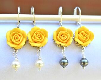 Rose earrings dangle earrings flower earrings polymer clay golden yellow rose earrings yellow flower earrings spring earrings bridesmaid earrings spring jewelry bridal jewelry mightylinksfo