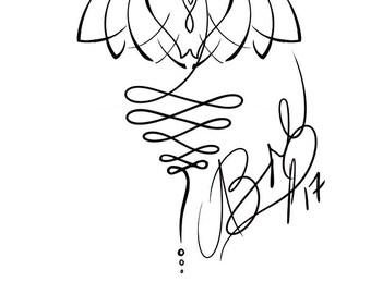 Lotus and Unalome Tattoo