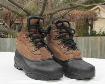 FASHION SALE Size 7 SOREL Hiking Boots, Brown Leather Boots, Winter Hiking Boots, Trail Boots, Lace-up Boots, Athletic Boots, Made in Canada